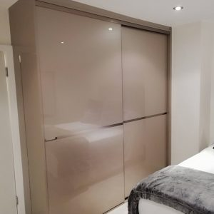 brown fitted sliding wardrobe