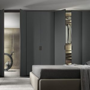 grey hinged wardrobe doors in bespoke bedroom