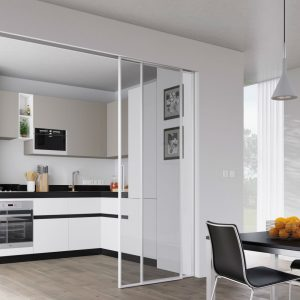 sliding doors leading to kitchen