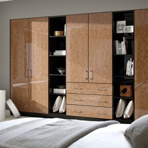 brown hinged wardrobe with pull out shelves